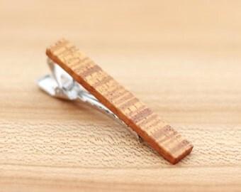 Wood Tie Clip - Curly Koa Wood - Groomsmen gift - 5th wedding anniversary present