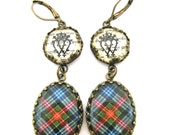 Scottish Tartan Jewelry - Ancient Romance Series - Cumming Clan Earrings w/Luckenbooth Charms on Ancient Scottish Gaelic Script