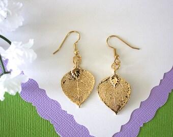 Gold Aspen Leaf Earrings Small, Aspen Leaf, Tiny Size Earrings, 24kt Gold Earrings, Real Leaf Earrings, Bridesmaid Gift, LESM131