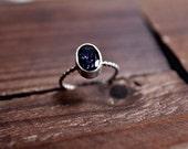 Indigo Blue Iolite Ring - Bezel Ring - Fine Silver Ring - Pyrite Ring - Sterling Silver Dark Blue Ring - Galaxy Stone Ring - Size 7 Ring