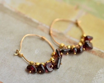 14kt Gold Red Garnet Earrings - Garnet Cluster Earrings - Vermeil Gold Faceted Nugget Earrings - Small Hoop Earrings