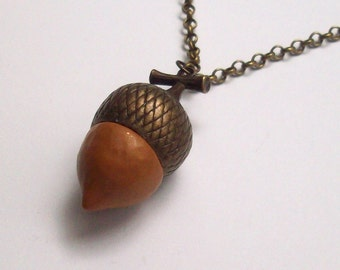 Super SALE! Acorn Pendant Brass and Polymer Clay, Autumn Jewelry