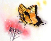 Butterfly Painting / Watercolour print / Butterfly drawing / insect illustration / Nursery decor/ abstract floral art / Nature wildlife art