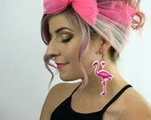 "Flamingo Earrings / Large 3.5"" / Laser Cut Acrylic Flamingo Earrings with Heart Charm (C.A.B. Fayre Original Design)"