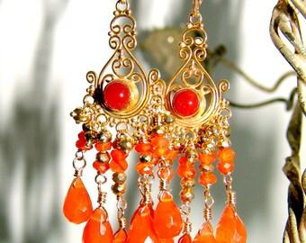 Fiery Orange Carnelian Briolette Gemstone Chandelier Earrings Vermeil Sterling
