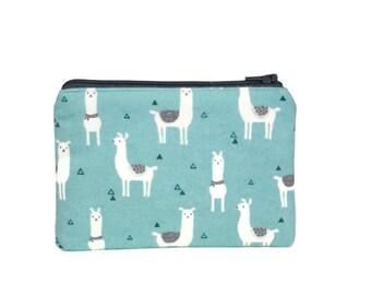 CHOOSE SIZE Little Llama Zipper Pouch / Adorable Alpaca Make Up Bag / Geometric Camera Bag / Pacifier Pouch