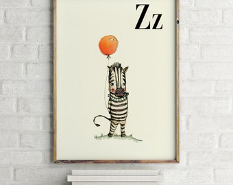 Zebra print, nursery animal print, safari nursery, alphabet letters, abc letters, alphabet print, animals prints for nursery