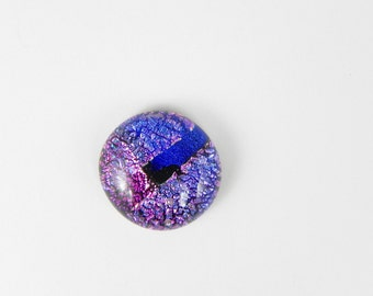 Dichroic Fused Glass Cabochon - Blue Pink - 1677 - 17mm x 18mm