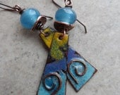 Sierra Nevada ... Enameled Copper, Lampwork and Copper Wire-Wrapped Boho, Rustic, Southwest Earrings