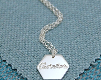 Sterling Silver Personalized Hexagon Necklace, Geometric Necklace, Hexagon Name Charm, Modern Gift for Teens, Girls, Mom, Sister, Friend