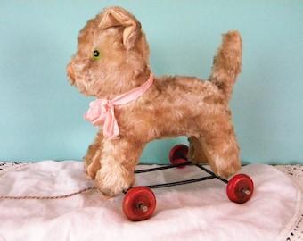 Vintage Stuffed Cat on Wheels Pull Toy Hard Stuffed Mohair Kitty