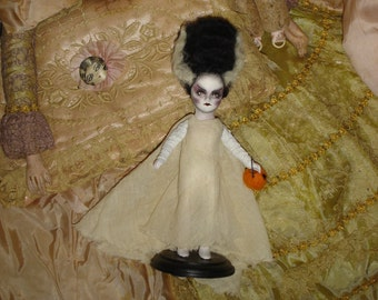 Bride of Frankenstein Halloween Costume Doll  Altered Art  Vintage Bisque Doll