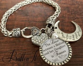 Gift for MOM, Mom jewelry, PERSONALIZED mom gifts, Mother's Day gift, I love you to the moon and back Photo bracelet Mother daughter jewelry