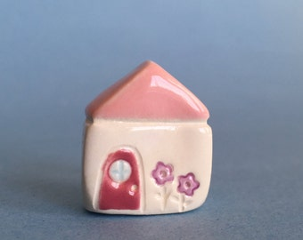 Little Ceramic House  Miniature Clay House Flower House Terrarium Prop