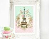 Eiffel Tower print, French vintage home decor, wall decor, Bonjour Paris, fleur de lis, mint green, Eiffel Tower, Paris, vintage art, A4