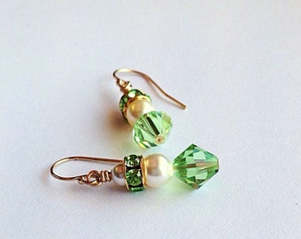 Green Bridal Earrings - Crystal Earrings - Peridot Pearl Earrings - Green Gold Earrings - Crystal Jewelry - 3 year anniversary gift - 15th