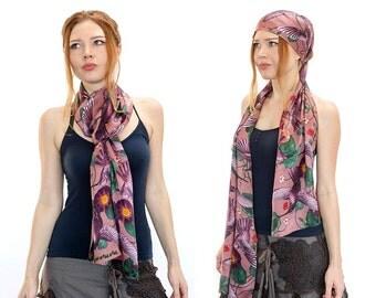 Womens Turban Headwrap, Head Scarf, Hair Wrap, Hair Scarf, Silk Bridal Wrap, Pink Silk Scarf, Hummingbird Scarf, Head Bandana, Hair Turban