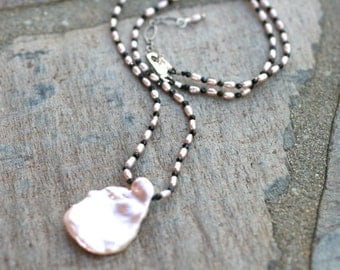 Large Pink Keishi Pearl Necklace, Black Spinel and Freshwater Pearl, Large Keishi Pearl Pendant, June Birthstone Jewelry