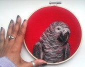 "SALE Embroidery Hoop Art African Grey Parrot Bird on Red Felt Needle Felting Pet Portrait 6"" READY to SHIP"