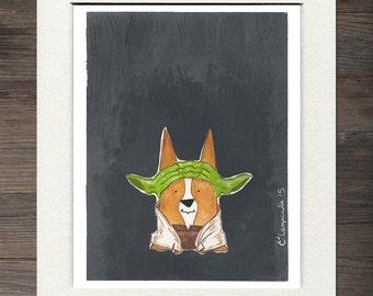 Corgi Yoda Matted Art Print