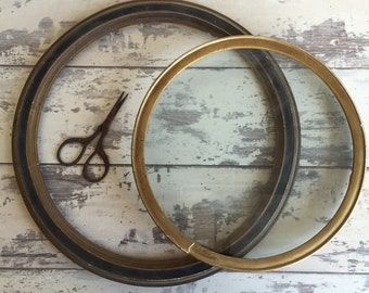 Antique Frames - Round Wooden Frames - One with Glass - One Without