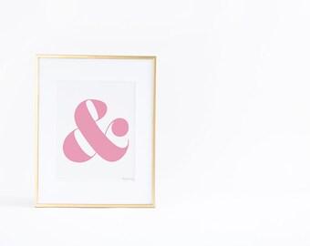 Pink Ampersand Sign Art Print, Digital Art, And Symbol Pink Art Print, Gold Office Art, Wall Art, Pink Print, Wall Decor, Pink Nursery Art