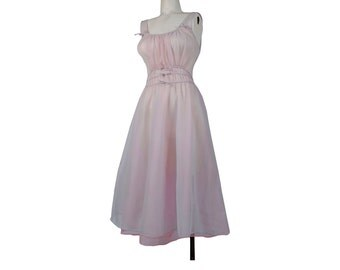 Vintage 50s Nightgown - Nylon Chiffon Nightgown - 50s Nylon Nightgown - 50s Nylon Tricot - Pink Blue Purple - Sheer Nylon Chiffon - S - Bows