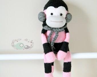 One sock MONKEY 13 inches - pink/black