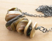 Abalone Shell Necklace, Neutrals Tan Beige Gray, Iridescent Shell, Oxidized Sterling Silver, Hand Knotted, #4231