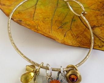 Gold Charm Bangle Bracelet, Gemstone, Vintage & Crystal Charms, Gift For mom