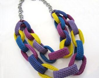 Crochet necklace,crochet chain necklace,cotton necklace,fiber necklace,textile necklace,multicolor necklace,blue,purple,plum,ethnic,vegan