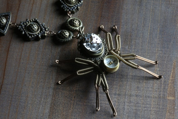 Steampunk Jewelry - Necklace - Spider compass pendant