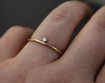 Skinny gold ring - balance ring - stackable ring - skinny stacking ring - minimalist ring - tiny stone - simple band  - thin ring