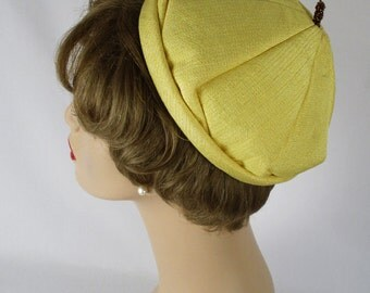 Vintage 1960s Yellow Pixie or Peaked Hat by Mr Kurt Sz 21