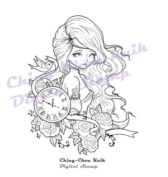 Time Flies - Instant Download / Tattoo Watch Clock Bird Dove Rose Ribbon Fantasy Fairy Girl Art by Ching-Chou Kuik