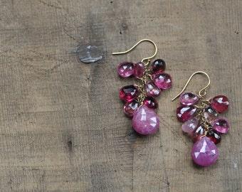 Pink Sapphire and Tourmaline Gemstone Cluster Earrings in Gold Fill