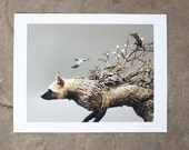 My Companionate Shadow (silver fox with crows) - Original Giclee Limited Edition Print - 8.5x11""
