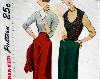 Vintage 1950s Skirt & Vest Pattern Simplicity 3299 Bust 32 Shawl Collar Weskit Rockabilly Pattern