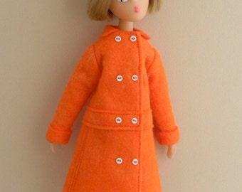 Orange felt coat for Mamzelle de Paris