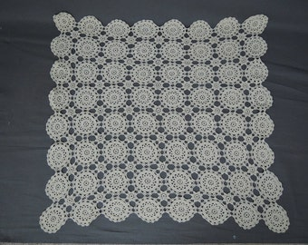 Vintage Crochet Table Topper 28x29 inches Doily Handmade Ecru 1940s 1950s Linen