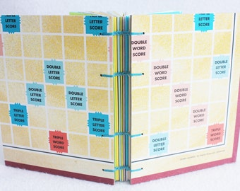 Scrabble Journal Recycled Game Board Book version 15 by PrairiePeasant