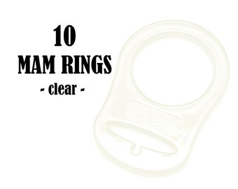 10 Clear MAM Silicone Pacifier Ring Adapters . button style pacifier ring attachment. food graded silicone . #293305