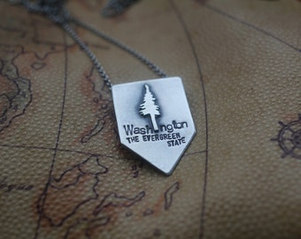 Washington: The Evergreen State - sterling silver necklace