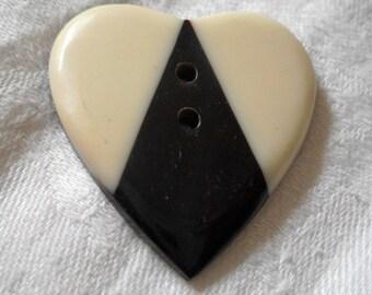 Large VINTAGE Realistic Heart Black & White Sew Thru BUTTON