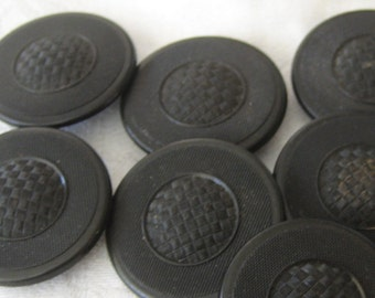 Set of 8 ANTIQUE Texture Weave Design Black Goodyear Rubber BUTTONS