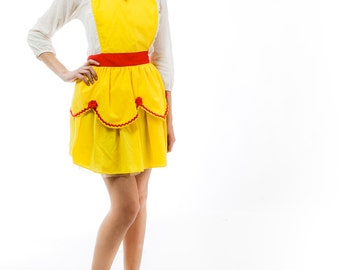 BELLE Beauty and the Beast  inspired retro APRON womens full costume aprons in pretty yellow and red roses
