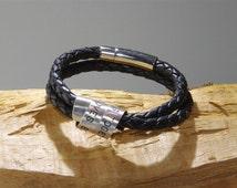 MATURE: BDSM SECRET Message Cuckold Hotwife black leather bracelet . Customize master slave daddy dom baby girl princess little sub