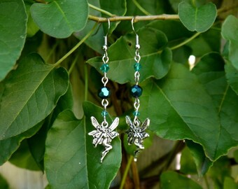 faerie charm earrings- blue/teal fairy drop bead earrings
