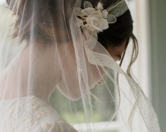 Silk tulle juliet bridal cap wedding veil -Portia no. 2121