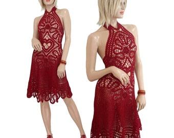 CROCHET DRESS Bruges Lace Heart Cutout Halter Top